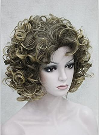 Amazon Com 2018 New Golden Brown Mixed Short Curly Wigs Wigs