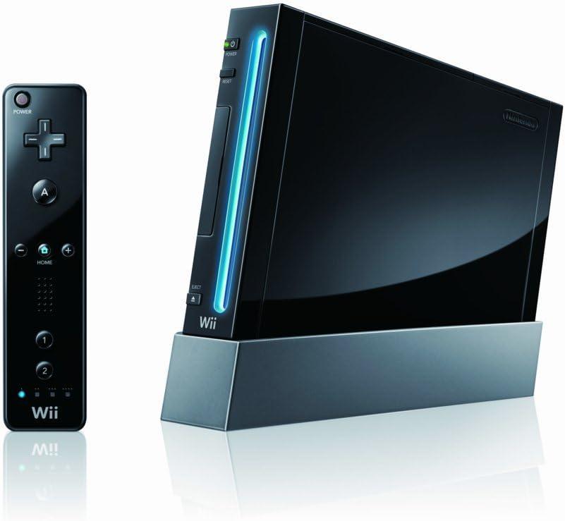 Consola Wii Negra (Edición limitada) + Accesorios en negro (1 Wiimote + 1 Nunchuk + 1 MotionPlus) + 2 juegos (Wii Sports y Wii Sports Resort) [Importado de Francia]: Amazon.es: Videojuegos