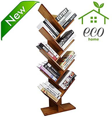 COPREE Bamboo Tree Bookshelf Book Rack Display Storage Organizer Bookcase Shelving Free Standing Bookshelves for CDs, Movies & Books Holder