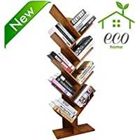 Bamboo 9-Shelf Tree Bookshelf Book Rack Display Storage Organizer Bookcase Shelving Free Standing Bookshelves for CDs, Movies & Books Holder