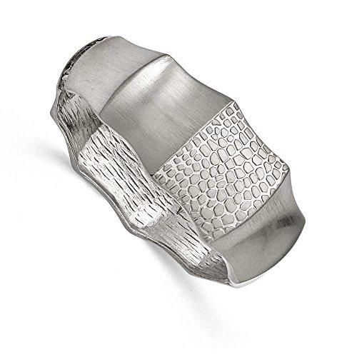 27mm à charnière en acier inoxydable brossé et texturé Bracelet jonc