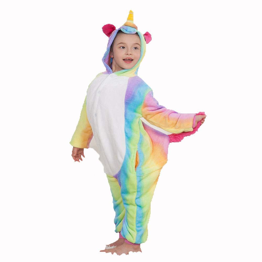 WLJBY Pigiama Monopezzo di Unisex per Bambini, Costume da coloreare per Animali, Costume da Pigiama per Bambini, Felpe con Cappuccio e Genitore per Bambini tra i 3 e Gli 8 Anni,Colorehorse,115