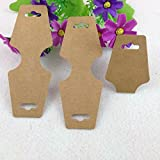 AKOAK 100 Pcs 12 X 4.5 Cm Blank Brown Kraft Paper Necklace Display Cards Bracelet Display Cards Jewelry Display Hanging Cards