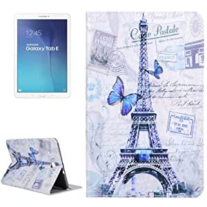 Purple Butterfly & Eiffel Tower Pattern Horizontal Leather Case Funda Flip Cover lápiz capacitivo para pantalla táctil con Holder & bolsillos internos para Samsung Galaxy Tab y 9,6 T560 /