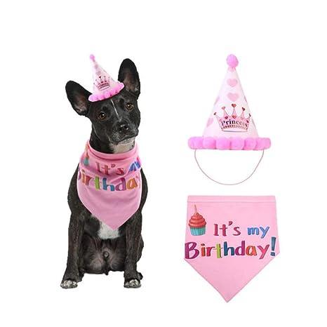 Greetunny 2pcs Triángulo Toalla+Gorro Perro cumpleaños ...
