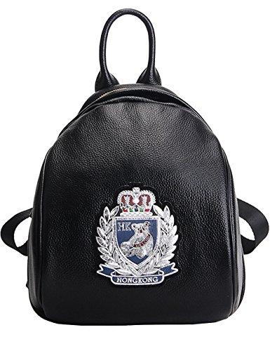 CUKKE Damen Echtes Leder Rucksack Wandern Reisetasche Silber Schwarz-Silber