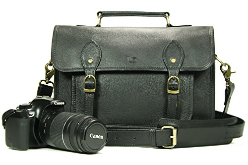 Leftover Studio Leather Camera Bag DSLR Messenger Shoulder Case with Removable Camera Insert 13 Inch Black (Best Camera Bag Street Photography)