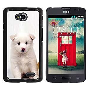 Qstar Arte & diseño plástico duro Fundas Cover Cubre Hard Case Cover para LG Optimus L70 / LS620 / D325 / MS323 ( White Puppy Pink Nose Dog Black Eyes)