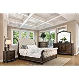 LYSANDRA Collection Luxury Stylish Traditional Intricate Wood Carving Rustic Natural Tone Finish Eastern King Size Sleigh Bed Dresser Mirror Nightstand 4pc Set Tufted Fabric HB FB