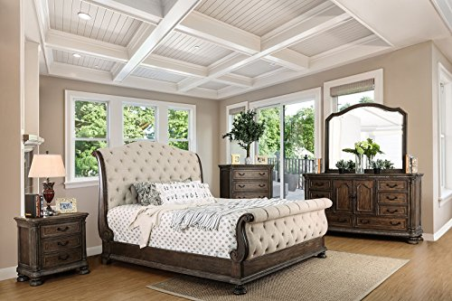Luxury Sleigh Beds - LYSANDRA Collection Luxury Stylish Traditional Intricate Wood Carving Rustic Natural Tone Finish Eastern King Size Sleigh Bed Dresser Mirror Nightstand 4pc Set Tufted Fabric HB FB