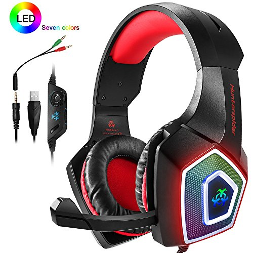 PS4 Headset,Xbox One Headphones,Gaming Headset with LED light,Stereo Gamer Headphones,3.5mm wired Over-ear Noise Isolating Microphone Volume Control for (Red Wireless Headset)