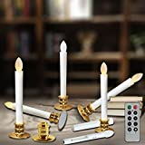 Flameless Taper Candles Led   Christmas Timer Candles Flickering AAA Battery Operated Remote   Electric Window White Candles with Removable Holders Gift Party Wedding Decoration 6pcs Gold Base