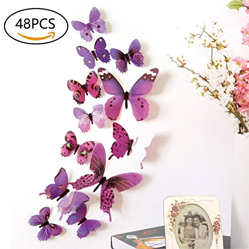 (48 PCS Removable 3D Butterfly Wall Stickers Decals DIY Wall Art Decor Home Wall Decoration Sticker Mural for Kids Girls Children Bedroom Living Room Background Nursery (Purple))