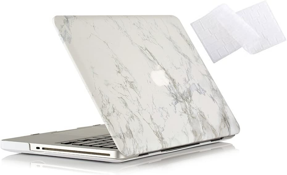 RUBAN MacBook Pro 15 Case 2011/2010/2009 Release A1286, Hard Case Shell Cover and Keyboard Skin Cover for Apple MacBook Pro 15 Inch with CD-ROM - White Marble