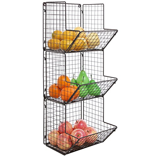 Rustic Brown Metal Wire 3 Tier Wall Mounted Kitchen Fruit Produce Bin Rack / Bathroom Towel - Wire Wall Rack