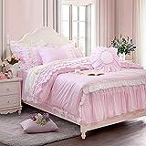 Softta Princess Bedding Set Queen Size Multi Layered Ruffles Duvet Cover Bed Skirt 100% Cotton Set, 5Pcs Pink