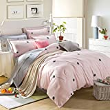 LaBetti Cotton 3 Pieces Printed Duvet Sets, 1 Stain Resistant Deep Pocket Fitted Duvet Cover & 2 Pillowcases Queen / Full Size 90 by 90 inches Duvet Cover plus 2 Pillowshams (pink)