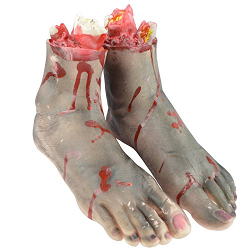 GlowSol 1Pair Horror Trick Toy Scary Prop Vinyl Stump Bloody Cut Leg Foot Bone Halloween Gift Practical Joke Artificial Broken Foot (Gruesome Halloween Ideas)