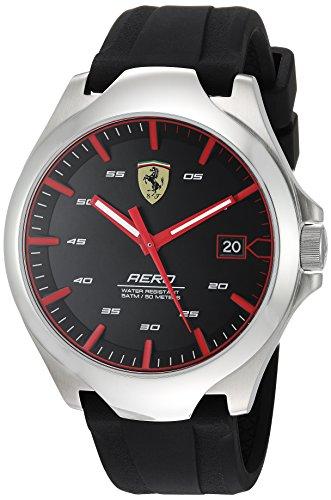 Ferrari Men's 'Aero' Quartz Stainless Steel and Silicone Casual Watch, Color:Black (Model: 0830506)