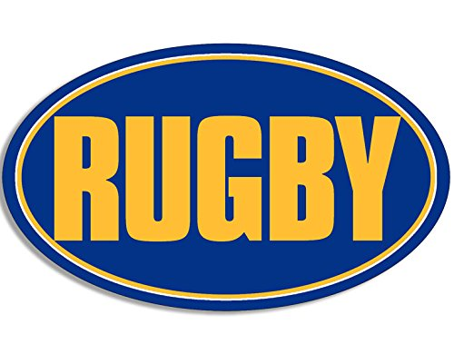- American Vinyl Oval Blue and Yellow Rugby Sticker (Play Bumper Decal)