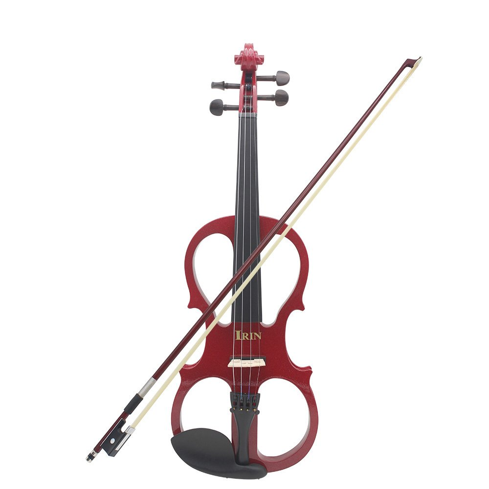 Andoer 4/4 Wood Maple Electric Violin Fiddle Stringed Instrument with Ebony Fittings Cable Headphone Case for Music Lovers Beginners
