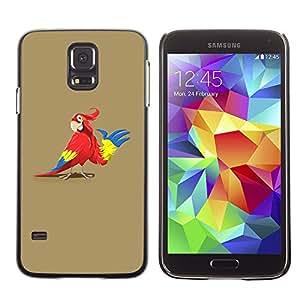 TopCaseStore / la caja del caucho duro de la cubierta de protección de la piel - Parrot Animation Drawing Art Red Colorful Cartoon - Samsung Galaxy S5 SM-G900