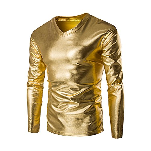 Cotton Metallic Blouse - CCSDR Men Plus Size Metallic Shiny T Shirt,Wet Look Long Sleeve Top Slim Fit V Neck Blouse (2XL, Gold)