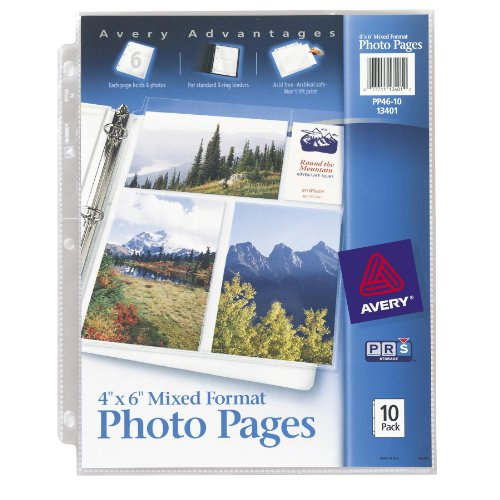 Avery Mixed Format Photo Pages, Acid Free, Pack of 10 (13401) (Storage Pages)