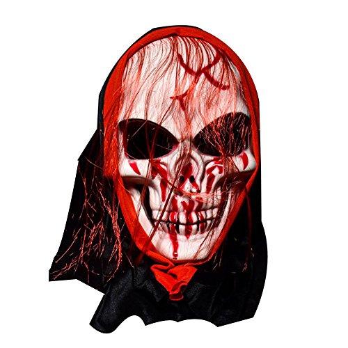 Leno Halloween Mask Bar Dance Horror Scary Long Hair Skull Ghost