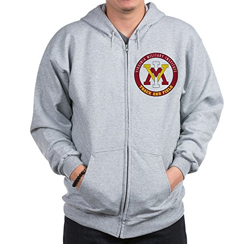 CafePress VMI Virginia Military Institute Cadets Sweatshirt Zip Hoodie, Classic Hooded Sweatshirt with Metal Zipper Heather Grey