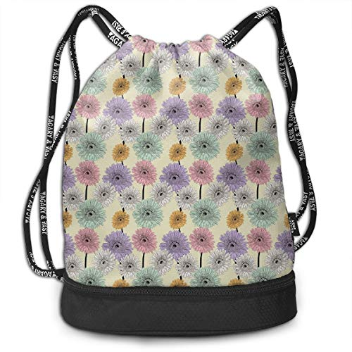 (Drawstring Backpacks Bags,Gerbera Daisy Arrangement With Vintage Inspirations Hand Drawn Blooming Nature,Adjustable)