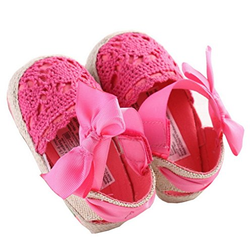 ACMEDE Babyschuhe Blume weiche Sandale Schuhe für Baby Mädchen Weiß 12cm Rose Red