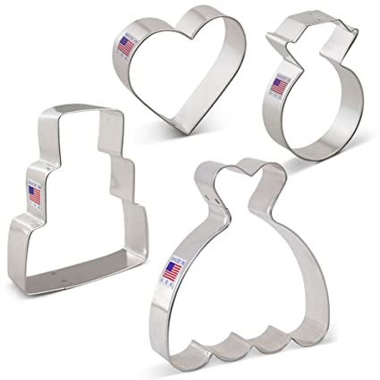 Amazon.com: Wedding Cookie Cutter Set - 4 Piece - Wedding Dress ...