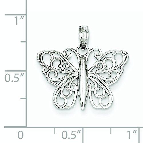 Or blanc 14 carats avec diamant et satiné-cut Pendentif Papillon-JewelryWeb