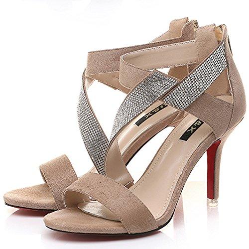 Azbro Mujer Sandalias de Tacón Alto con Diamantes Falsos con Puntera Abierta Beige