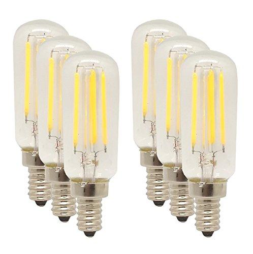 Mansa Lighting, T25/T8 Style LED Bulb (Tube Shape), 6 Pack, 400 Lumens, 4 Watts, E12 Candle Base, Warm White, 40W Equivalent