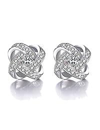 Wonvin Women 925 Silver Plated Stud Earrings Cubic Zirconia Eternal Love Earrings