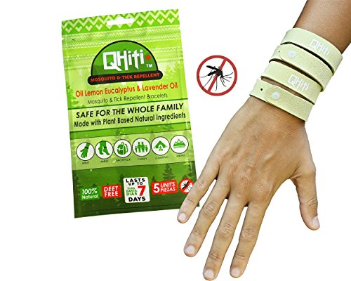 5 Band   QHiti Mosquito Repellent Bracelets - Oil of Lemon E