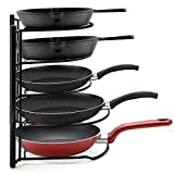 Hoople Heavy Duty Cookware Pan Organizer Holder, Pot Lid Rack for Kitchen, Counter, Cabinet, Pantry Storage Solution, No Assembly Required, Black