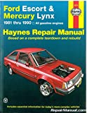 H36016 Haynes Ford Escort Mercury Lynx 1981-1990 Auto Repair Manual