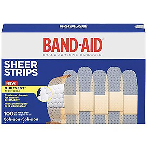 Band-Aid Sheer Strip, 3/4'' X 3'', (12 Boxes of 100) (1200) by JOHNSON & JOHNSON CONSUMER