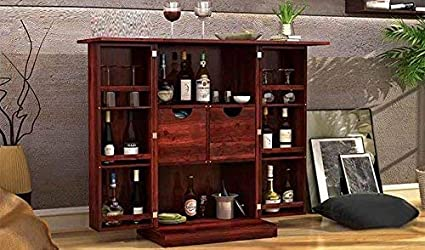 Aprodz Sheesham Wood Wine Storage Pindar Stylish Bar Cabinet for Living Room | Mahogany Finish