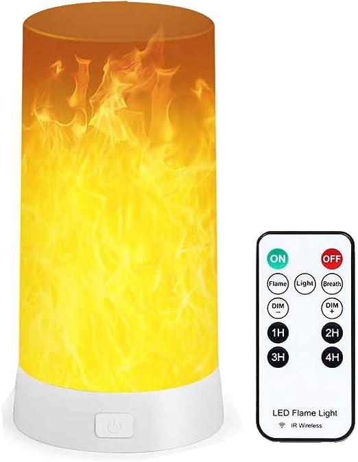 Lámpara LED con efecto de llama, recargable por USB, 4 modos, vela sin llama, decoración de mesa, luz nocturna con temporizador remoto inalámbrico para casa, fiesta, camping, bar
