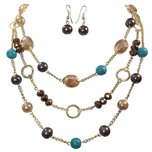 3 Row Layered Imitation Pearl Beaded Necklace And Earrings Set - Assorted Colors (Imitation Turquoise & Brown) ()