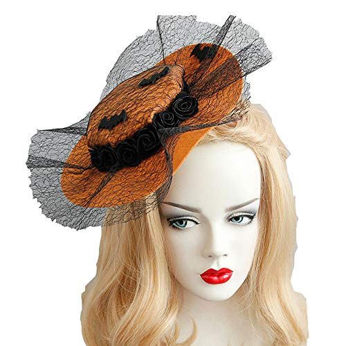 Halloween Pumpkin Hat Jack-O-Lantern Headpiece Christmas Party Costume Cosplay Decorations Witch Lace Hair accessory for Women -