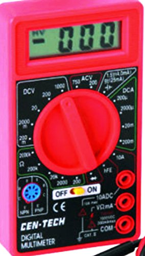 Cen-Tech Digital Amp Ohm Volt Meter Ac Dc Voltmeter Multimeter,Red