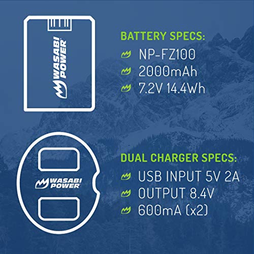 Wasabi Power Battery (2-Pack) and Dual USB Charger for Sony NP-FZ100, BC-QZ1 and Sony a9, a9 II, a7R III, a7R IV, a7 III
