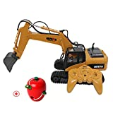 RC Alloy Truck Excavator Model Remote Control Crawler Shovel Loader Tractor 2.4G Radio Control Construction Vehicle Toy 15 Ch 1/ 14 Digger Car Model for HUINA 1550 (USB)