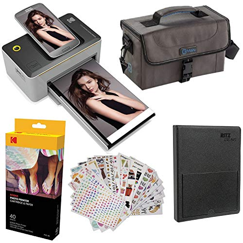 Kodak Dock 4x6 Printer Starter Bundle + 40 Paper + Case + Photo Album + Sticker Frames