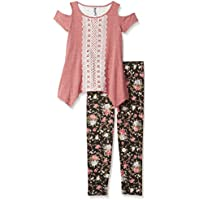 Beautees Girls' Big Two Piece Fashion Top with Printed Legging
